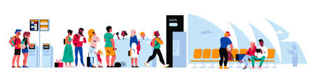 People in airport terminal waiting for the flight, going through passport control, registering online. Vector flat illustration. 版權商用圖片 - 157091683