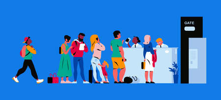 People in airport terminal registering for departure, waiting for the flight, going through passport control. Vector flat illustration. 版權商用圖片 - 157091684
