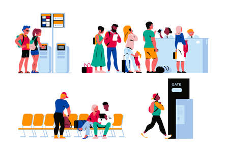 People in airport terminal waiting for the flight, going through passport control, registering online. Vector flat illustration.