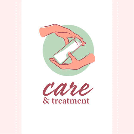 Hand cream emblem with human hands icon hold tube of moisturizer concept isolated on white background. Vector flat hand drawn illustration.