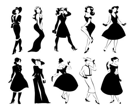 Collection of black women full length portraits silhouettes in different poses isolated on white background. Lady fashion style with dress, trousers, shoes, hat, bags.