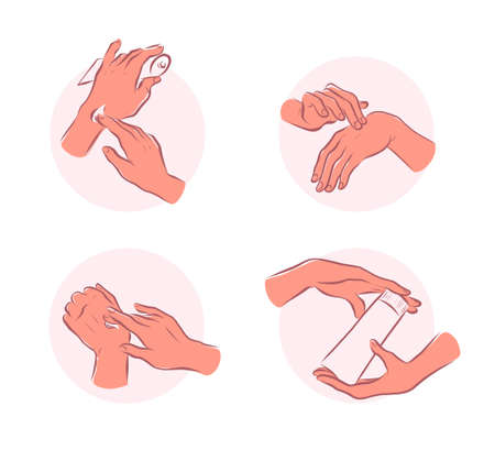 Set of human hands emblems with hand cream hold moisturizer tube, smear each other isolated on white background. Vector flat hand drawn illustration. Ilustração