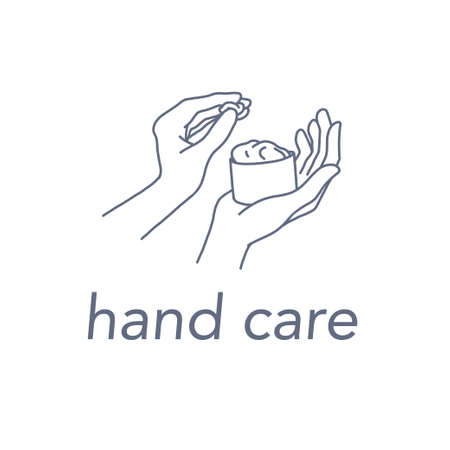 Hand care cream emblem with human hands hold moisturizer can icon concept isolated on white background. Vector line art hand drawn illustration.