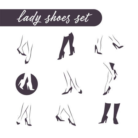 Collection of woman legs in shoes and boots heels isolated on white background. Vector flat minimalistic lady style illustration. Ilustração