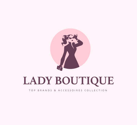 Lady boutique logo design template isolated on light background. Stylish lady in coat with bag icon concept. For branding, advertisement, shop insignia. Vector flat illustration.