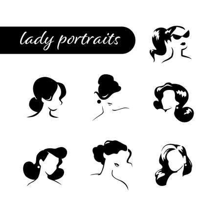 Collection of beautiful woman head and shoulders portraits isolated on white background. Black minimalistic silhouette, contour line. Vector flat illustration.