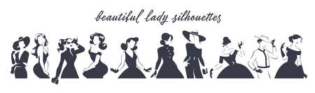 Collection of black women waist high portraits silhouettes in different poses isolated on white background. Lady fashion style with dress, trousers, accessories, hat, bags. Ilustração