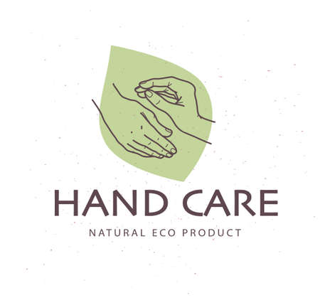 Hand care emblem with human hands icon and green leaf eco concept isolated on white textured background. Vector line art hand drawn illustration. Ilustração