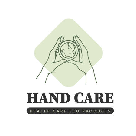 Hand care emblem with two human hands hold can of cream icon isolated on white background. Vector line art hand drawn illustration, top view concept. Ilustração