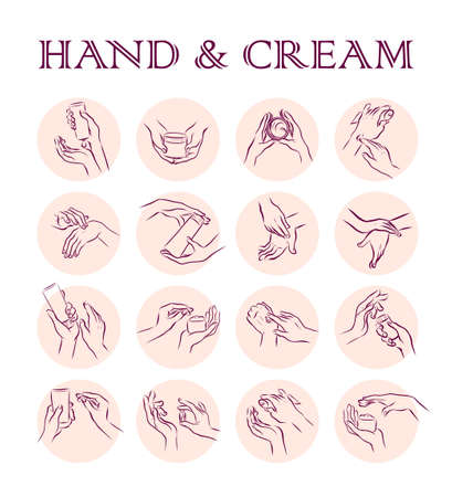 Collection of human hands with hand cream and moisturizer tube in different gestures and posses isolated on white background. Vector flat hand drawn illustration. For banners, ads, emblems, tags etc. Ilustração