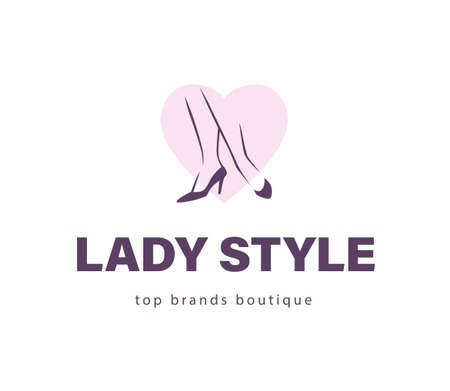 Lady style emblem concept isolated on white background. Pair of elegant woman legs in classic shoes on heart shape. Vector flat minimalistic hand drawn illustration. Ilustração