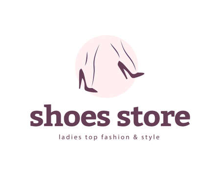 Shoes store emblem concept isolated on white background. Pair of elegant woman legs in classic shoes. Vector flat minimalistic hand drawn illustration.