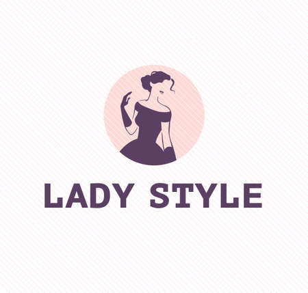 Lady style emblem design template isolated on light background. Stylish lady in evening dress and gloves icon concept.  Vector flat illustration. Ilustração
