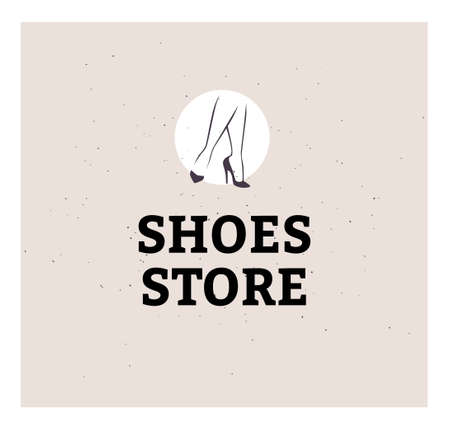 Shoes store emblem concept isolated on light background. Pair of elegant woman legs in classic shoes. Vector flat minimalistic hand drawn illustration. For emblems, advertising, tags,  banners. Ilustração