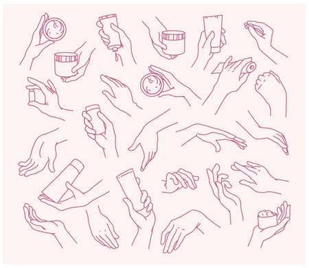 Collection of human hands with hand cream and moisturizer tube, can in different gestures, posses isolated on white background. Vector hand drawn line art illustration. For banners, ads, emblems, tags Ilustração