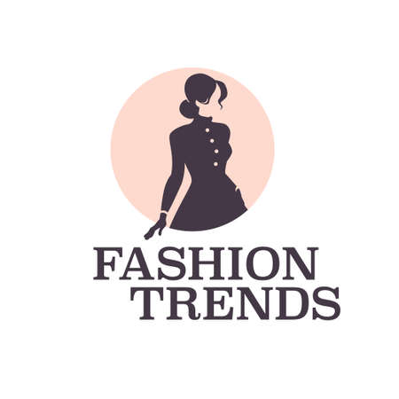Fashion trends design template isolated on light background. Stylish lady in coat and gloves icon concept. For branding, advertisement, shop insignia. Vector flat illustration. Ilustração