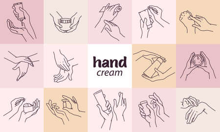 Collection of human hands with hand cream and moisturizer tube, can in different gestures and posses isolated. Vector hand drawn line art illustration. For banners, ads, emblems, tags, packaging
