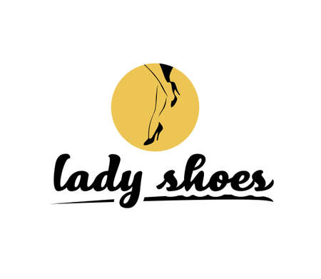 Lady shoes emblem concept isolated on white background. Pair of elegant woman legs in classic shoes icon. Vector flat hand drawn illustration. For emblems, advertising, tags, sale banners Ilustração