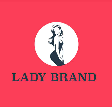 Lady emblem design template isolated on red background. Stylish lady in cocktail dress and long hair icon concept. For branding, advertisement, shop insignia. Vector flat illustration.