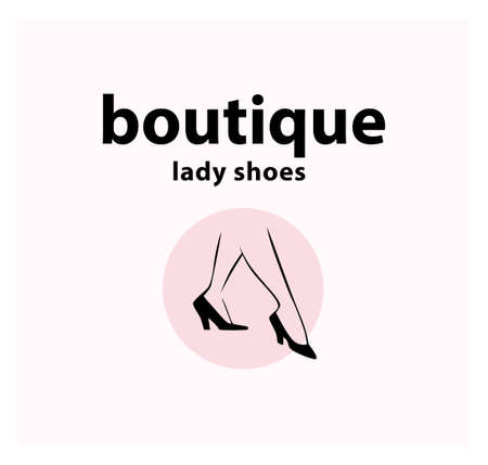 Lady shoes boutique emblem concept isolated on white background. Pair of elegant woman legs in classic shoes. Vector flat minimalistic illustration. For emblems, advertising, tags,   banners. Ilustração