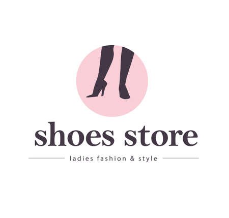 Shoes store emblem concept isolated on white background. Pair of woman elegant high heeled boots on pink backdrop. Vector flat illustration. For emblems, advertising, tags, sale banners, shop .