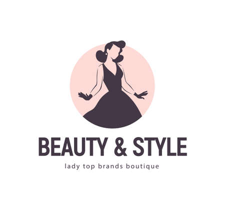 Beauty and style concept design template isolated on light background. Stylish lady in evening dress and gloves icon. For branding, advertisement, shop insignia. Vector flat illustration.