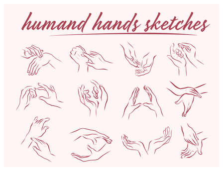 Collection of pairs of human hands in different gestures and cosmetic skin care posses isolated on white background. Vector flat hand drawn illustration. For banners, ads, emblems, tags, etc.