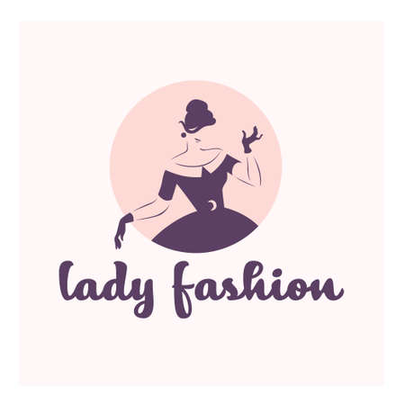Lady fashion concept design template isolated on light nude colored background. Stylish lady in retro style concept. For branding, advertisement, shop insignia. Vector flat illustration.