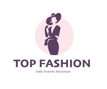 Top fashion concept design template isolated on light background. Stylish lady in hat with bag icon concept. For branding, advertisement, shop insignia. Vector flat illustration.