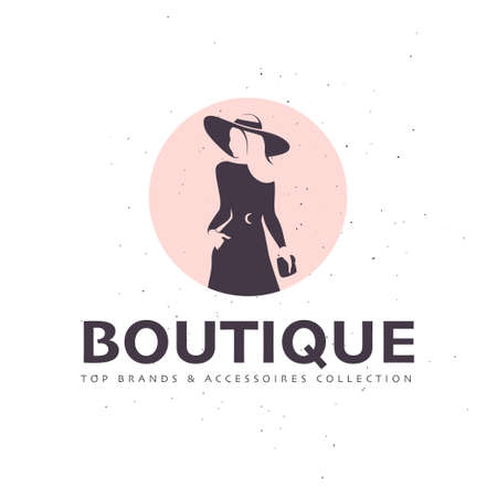 Lady boutique design template isolated on white textured background. Stylish long haired lady in hat with bag icon concept. For branding, advertisement, shop insignia. Vector flat illustration.