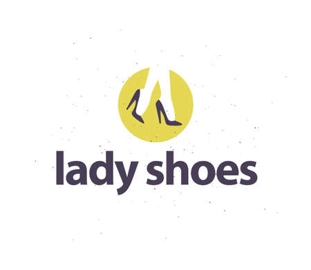 Lady shoes emblem concept isolated on white background with pair of elegant woman legs in classic shoes. Vector flat minimalistic illustration. For labels, advertising, tags, sale banners, shop .