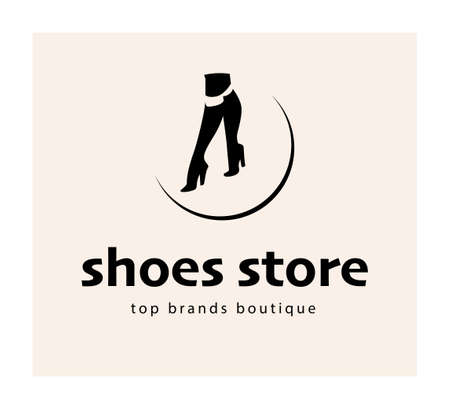 Shoes store emblem concept with elegant lady high heeled boots isolated on white background. Vector flat minimalistic elegant style illustration. For advertising, tags, sale banners, shop . Ilustração