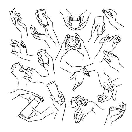 Collection of human hands with hand cream, moisturizer tube and can in different gestures and posses isolated on white background. Vector hand drawn line art illustration. For banners, ads, emblems, tags. Ilustração