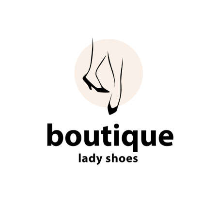 Lady shoes boutique emblem concept isolated on white background. Couple of elegant woman legs in classic shoes icon. Vector flat illustration. For emblems, advertising, tags, sale banner, etc.