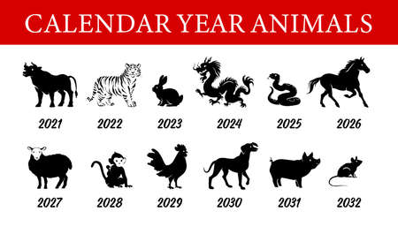 Collection of chinese year calendar animals silhouettes isolated on white background. Vector flat illustration. For banners, cards, advertising, congratulations, logo.