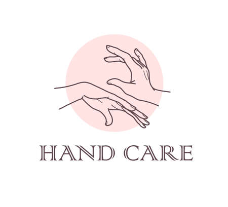 Hand care concept emblem with pair of human hands icon isolated on white background. Vector line art hand drawn illustration. For brand insignia, banner, advertisement, packaging etc.