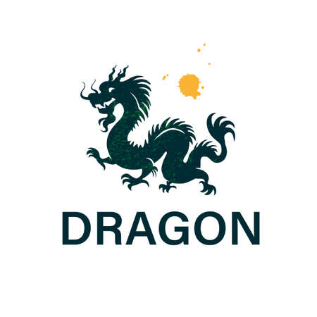 Dragon animal silhouette isolated on white background. Vector flat illustration. For banners, cards, advertising, congratulations, logo. Ilustração