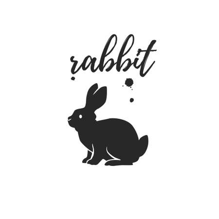 Rabbit animal silhouette isolated on white background. Vector flat illustration. For banners, cards, advertising, congratulations, logo.