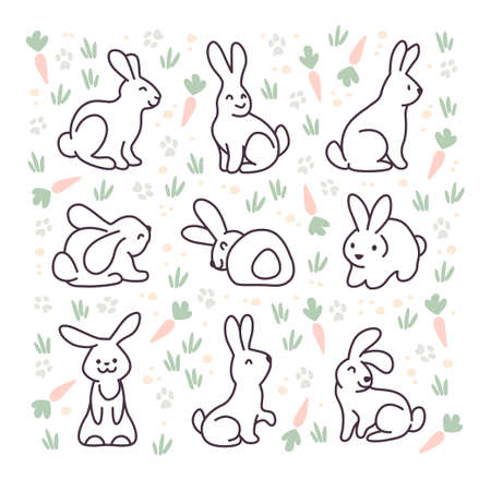 Collection of cute white bunny characters isolated on white background. Rabbit animal icon. Hand drawn doodle style. Vector illustration. For stickers, cards, tags, Easter decor. Ilustração