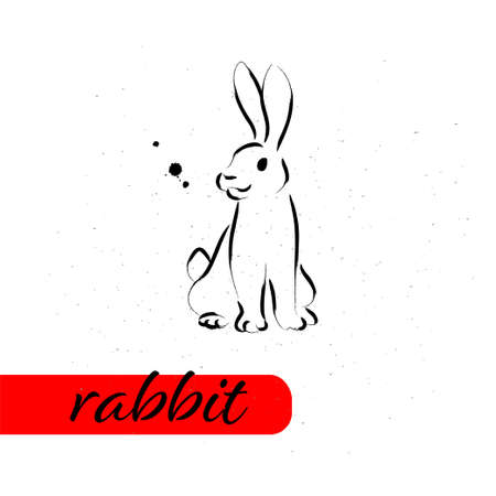 Chinese rabbit year calendar animal silhouette isolated on white textured background. Vector hand drawn sketch style illustration. For banners, cards, advertising, congratulations. Ilustração