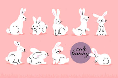 Collection of cute white bunny characters isolated on pink background. Rabbit animal icon. Hand drawn doodle style. Vector illustration. For stickers, cards, tags, Easter decor.
