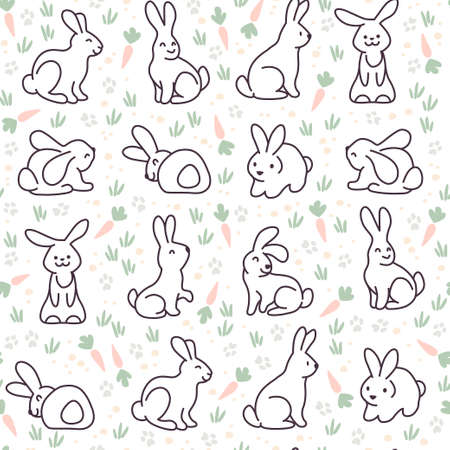 Seamless pattern with cute bunny characters isolated on pink background. Hand drawn doodle style. Vector illustration. For nursery, Easter decor.