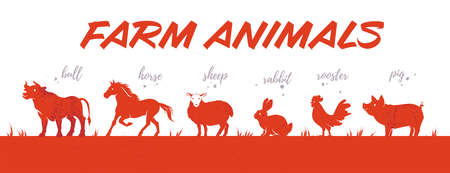 Collection of farm animals livestock red colored textured silhouettes in row isolated on white background. Side view. Vector flat illustration. For banners, cards, advertising, congratulations, logo. Ilustração
