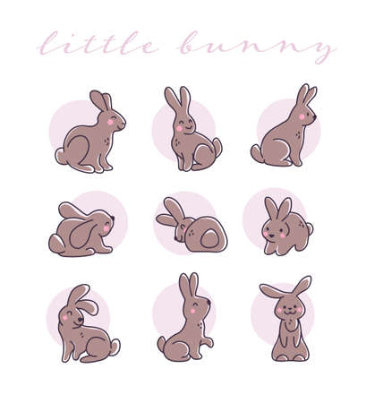 Collection of cute chocolate bunny characters isolated on white background. Rabbit animal icon. Hand drawn doodle style. Vector illustration. For stickers, cards, tags, Easter decor.