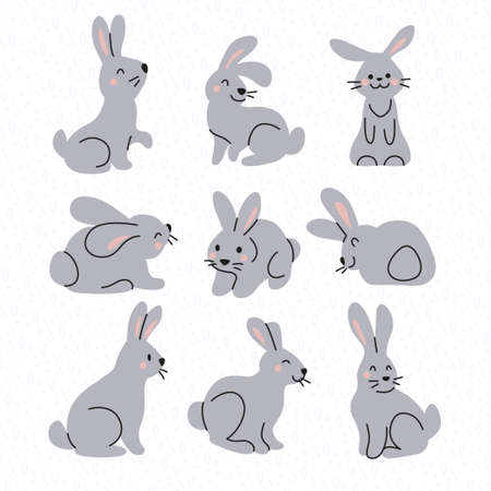 Collection of cute gray bunny characters isolated on white background. Rabbit animal icon. Hand drawn doodle style. Vector illustration. For stickers, cards, tags, Easter decor.