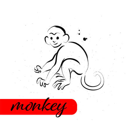 Chinese year monkey calendar animal silhouette isolated on white textured background. Vector hand drawn sketch style illustration. For banners, cards, advertising, congratulations.