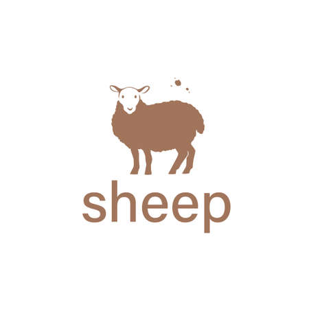 Sheep animal silhouette isolated on white background. Vector flat illustration. For banners, cards, advertising, congratulations, logo. Ilustração