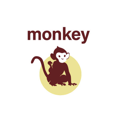 Monkey animal silhouette isolated on white background. Vector flat illustration. For banners, cards, advertising, congratulations, logo.