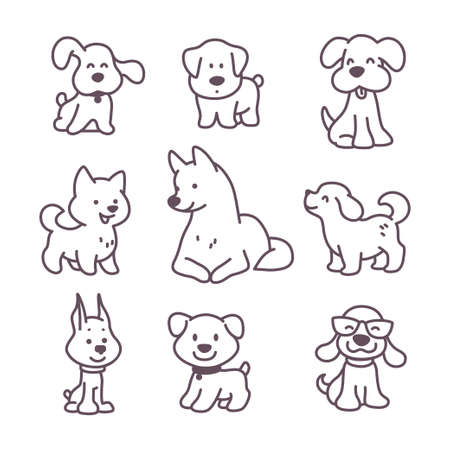 Collection of cute funny dog characters different breeds sit and stand isolated on white background. Vector doodle line art illustration. For stickers, pet shelter emblems, veterinary logo, gift tags. Ilustração