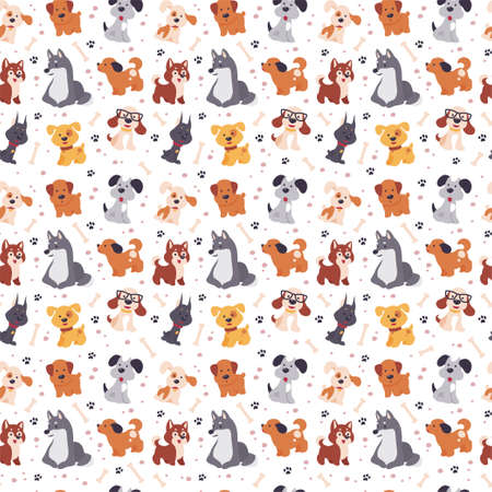 Seamless pattern design with cute little dog characters, paw trace and bones isolated on white background. Vector flat illustration. For kids gifts packaging, wrapping paper etc.